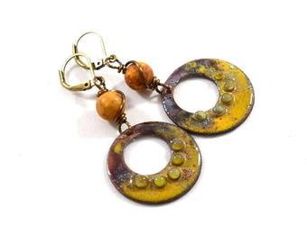 Handmade Hoop Earrings, Enameled Earrings, Orange and Mustard Earrings, Brass Earrings,Artisan Earrings, Boho Earrings,Yellow Earrings,E043