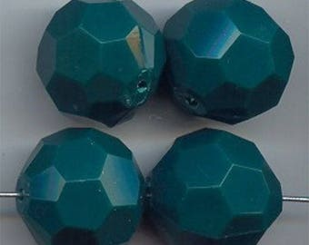 6 Vintage Hunter Green Acrylic 20mm. Round Faceted Beads 5477