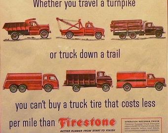 1957 Firestone Ad Matted Vintage Print