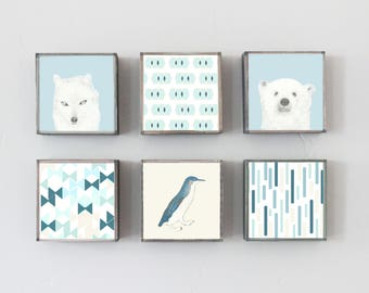 modern geometric nursery art prints, choose 6 art block prints, arctic woodland fox polar bear, nursery decor geometric prints, nursery