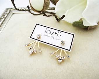 Wedding Earrings, Ear Jackets, Gold Bridal Jewelry, Swarovski Crystal Earrings, Bridal Ear Jackets, Crystal & Gold Earrings, CZ Earrings