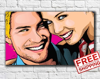 Custom Couple Pop Art Portrait Comic Portrait Personalized Portrait Gift for Friend