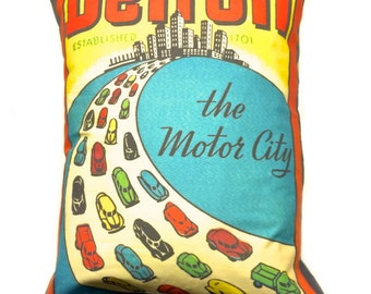 Pillow Made From Vintage Detroit Postcard Design