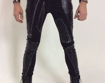 Leather and Denim Industrial Futuristic Post Apocalyptic Jeans