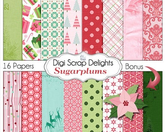 Pink Christmas Papers w Poinsettia Clip Art, Sugarplum Digital Scrapbooking Paper, Presents, Christmas Trees Instant Download