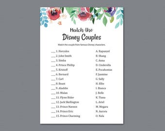 Disney Couples Match Game, Match Disney Couples Bridal Shower Game Printable, Watercolor Floral, Famous Couples Match Game Download, A007