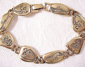 Lizards Bugs Animal Rock Link Bracelet Gold or Silver Tone Vintage Satin Oval Imprinted Discs Foldover Clasp