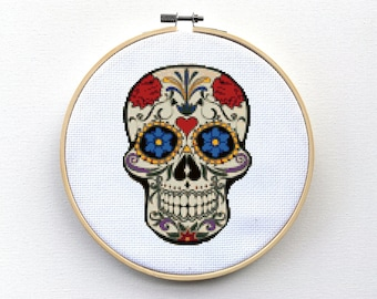Cross Stitch Pattern, Sugar Skull Cross Stitch Pattern, Day Of The Dead, Halloween Cross Stitch PDF, Floral, Flowers, Skeleton Gift, Mexican