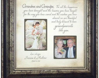 Wedding Gift for Grandparents, Personalized Wedding Frame Gift, Grandparents Wedding Thank You Gift for Grandmother Grandfather Gift, 16x16