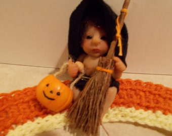 Ooak Sculpted Witch Baby Doll