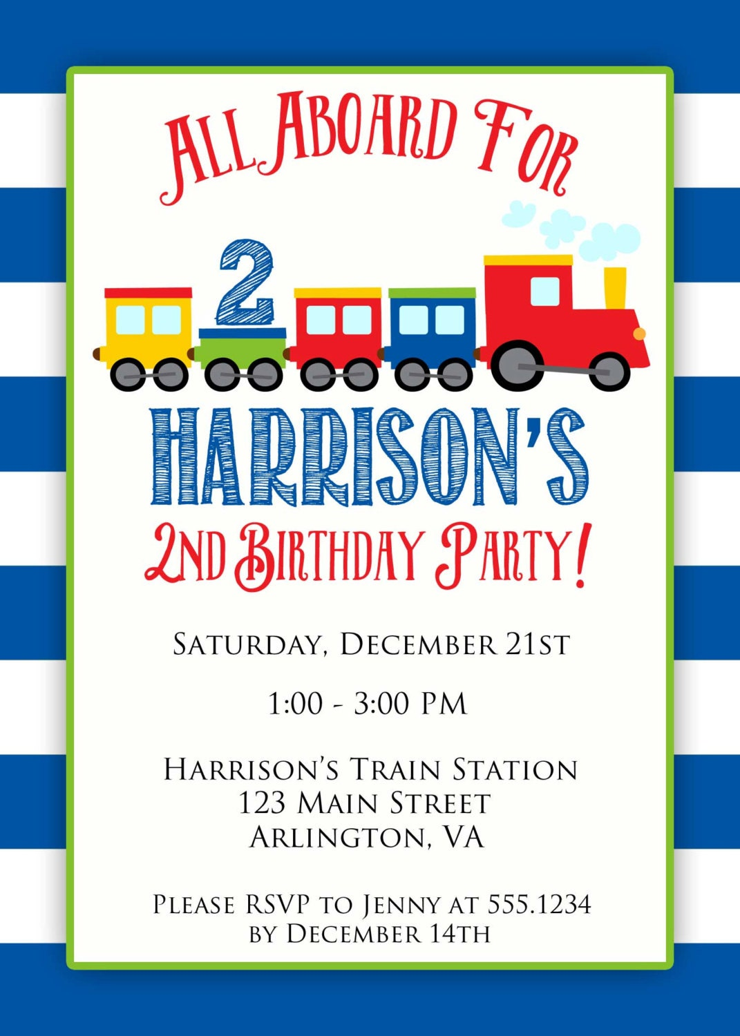 Train Birthday Invitation Train Party Train Invite Boy Birthday