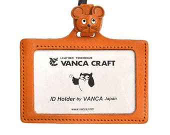 Mouse Handmade 3D Leather ID Card/Badge Holder with Lanyard *VANCA*Made in Japan#26645