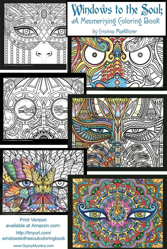 Windows To The Soul Coloring Book Digital Download Edition Adult Pages Printable