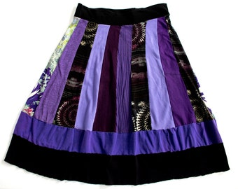 Women's XL Upcycled Purple and Black Patchwork Skirt