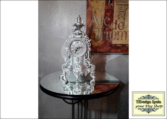 Reloj de mesa vintage, Reloj vintage, Reloj antiguo italiano, Reloj clásico, Reloj de mesa plateado, Reloj decorativo, Reloj de comedor