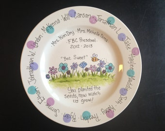 Personalized Teacher Gift - Handpainted 12 Inch Teachers Platter- Personalized - Great Gift