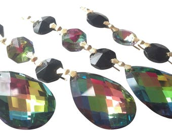 5 Vitrail and Black Chandelier Crystal Ornaments