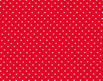 Red Pinhead Fabric from Michael Miller Fabrics - 1 Yard - By the Yard - Red and White - Pin Dots - CX5514-REDX-D