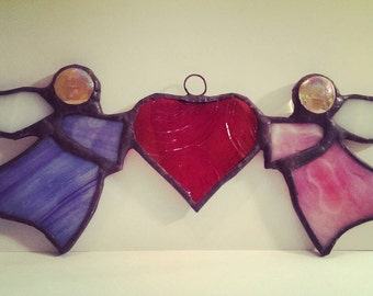 Stained Glass Angels holding a Heart