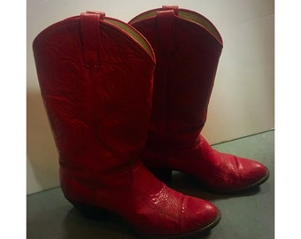 Womens  Vintage Snakeskin Red Dan Post Cowboy Boots