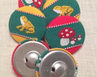 Set di 6 bottoni rivestiti in stoffa e passamaneria