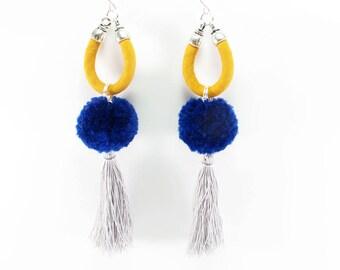 Pompom earrings, Statement earrings, Mustard, Blue, Grey, Tassels, Long earrings, Handmade pompoms, Sterling silver hooks, Fabric jewelry