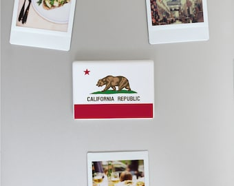 Ceramic Fridge Magnet, California Republic Flag Illustration, Funny Fridge Magnets, Refrigerator Magnet, FM133