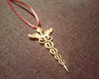 Caduceus Necklace, Medical Jewelry, Medical Necklace, Nurse Necklace, Nurse Jewelry, Caduceus Pendant, Caduceus Charm,