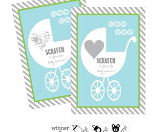 Boy Baby Shower Games Scratch Off Game Baby Shower Scratch Off Cards -Fun Baby Shower Games -Baby Shower Ideas for Boys -12 cards (EB3022BB)