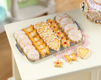 MTO - Iced Butter Cookies on Metal Baking Sheet - Five Varieties - Miniature Food in 12th Scale for Dollhouse