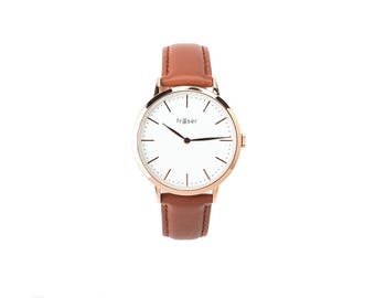 Women's Rose Gold Fraser Classic Watch w/ Tan Strap (Unisex)