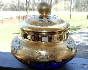 Bohemian Lidded Jar • Gold Enamel over Translucent Blue Glass • Vanity Jar • Dresser Jar • Trinket Box • Lidded Container •  Handmade
