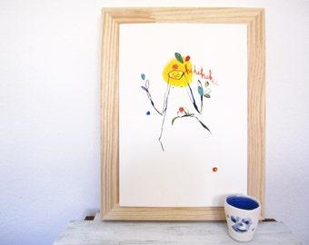 modern kids art, kids wall art, ORIGINAL whimsical art, childrens illustration, happy illustration, witty bright, colorful wall art, yellow