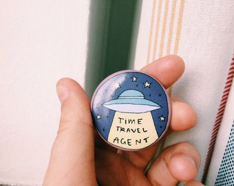 """Time Travel Agent - 1.25"""" pinback button"""
