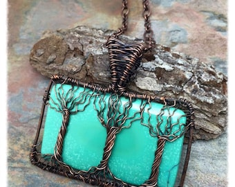 Three Trees Turquoise Trees of Life Necklace, with Intertwined Roots, Marta Weaver Jewelry, Ready To Ship