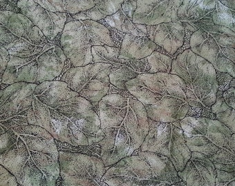 "Green leaf Print fabric ""Impressions"" by Patricia B. Campbell & Michelle L. Jack for Benartex fabrics. Sold by 1/2 yard"
