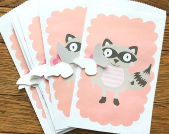 Racoon Party Favor Bags, Valentine Party Favors, Candy Bags, Treat Bags, Animal Favors