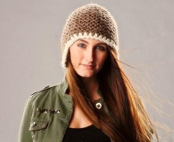 Chunky Knit Hat Women Garter Helmet Brown Ear Flap Hat in Barley Brown Knit Hat - Brown Hat Brown Beanie Womens Knit Accessories Winter Hat