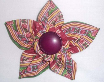 Fabric Flower Brooch or Pin in Multi Floral Green, Maroon, Pink with Vintage Button F-25
