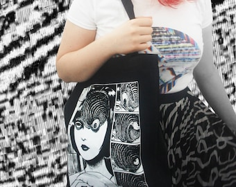 BLACK Uzumaki Tote Bag / Junji Ito / Creepy Cute / Halloween