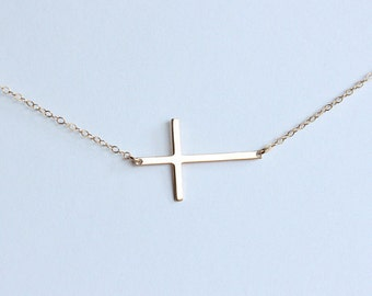 Simple gold cross necklace, Skinny cross necklace celebrity kelly ripa inspired, Cross jewelry, Horizontal cross necklace, Sideways cross
