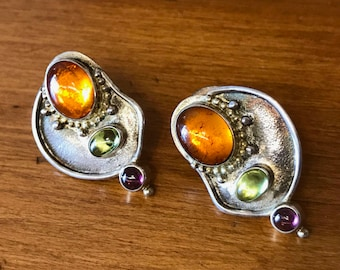 Vintage silver earrings, with amber, peridot and tourmaline by Frank Patania, Jr