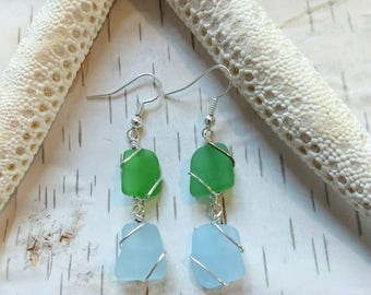 Handmade Okinawa wire wrapped sterling silver dangle green/blue sea glass earrings Sea glass jewelry Valentines gift for her dangle earrings