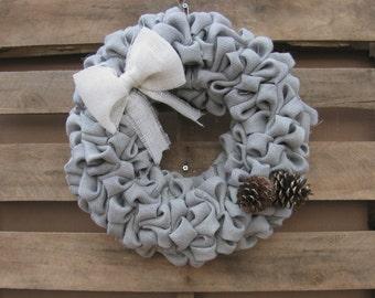 Burlap Winter Wreath, Rustic Front Door Decor