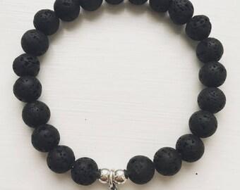 Male black skull charm bracelet