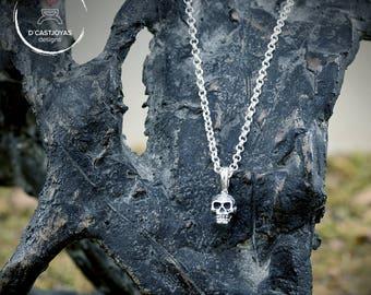 Colgante plata calavera pequeña, Colgante cráneo humano, Colgante plata artesanal, Joyería urbana, Estilo punk, Joyería unisex
