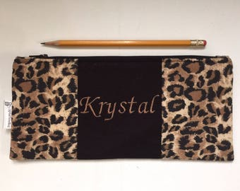 Animal print - pencil pouch / make up bag / clutch / personalized zipper pouch / bridesmaids gift