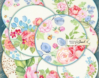 Flower Labels - 2.5 inch circles - set of 12 - digital collage sheet - pocket mirrors, tags, scrapbooking, cupcake toppers