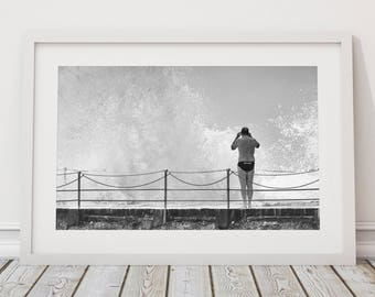 Black and White Bondi Beach, Australian Surf Photography, Ocean Tidal Pool, Ocean Decor, Coastal Decor, Surf Art, Large Printable Poster