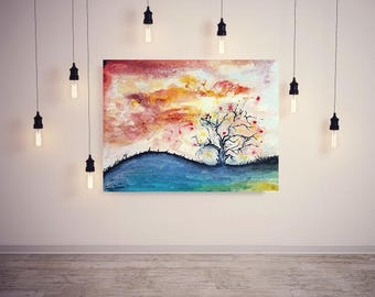 Tree of dreams original watercolor painting, handmade, wall art, home decor, nature, one of a kind, perfect gift